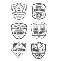 car repair diagnostic service and auto parts icons vector image