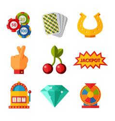 Casino game icons poker gambler symbols blackjack vector