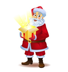Christmas miracle - santa claus holding a box with vector