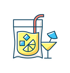 Cocktail to go rgb color icon vector
