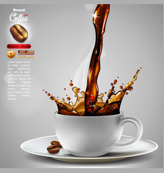 Coffee advertising design with a splash effect vector