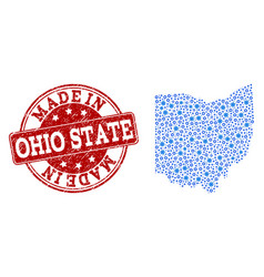 Collage map of ohio state with cog links and made vector