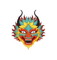 Colorful dragon head element of chinese vector