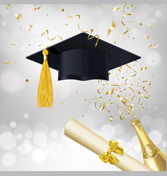 congratulatory banner about getting an education vector image
