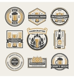 Craft beer vintage isolated label set vector