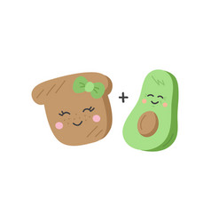 Cute avocado and toast icons vector