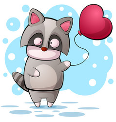 cute cartoon raccon character air balloon vector image