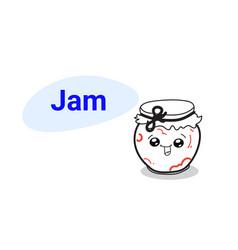 cute fruits jam jar cartoon comic character vector image