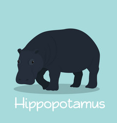 Cute hippopotamus design on sky blue vector