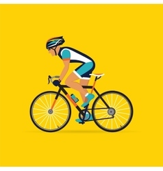 Cyclist male on a yellow background vector
