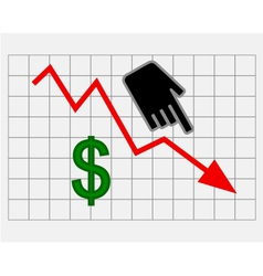 Declining equity price of dollar vector image
