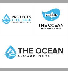 Design logo ocean and fish vector