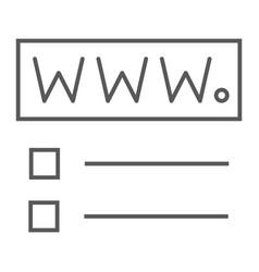 Domain registration thin line icon website vector