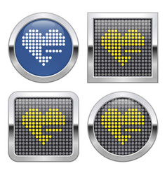 dotted icon heart with minus sign remove from vector image