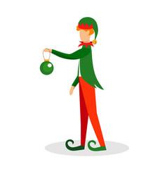 elf character holding ball for christmas tree vector image