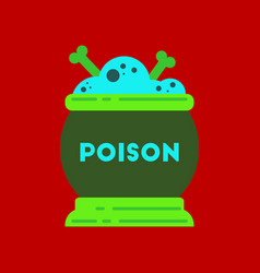Flat icon on stylish background potion cauldron vector
