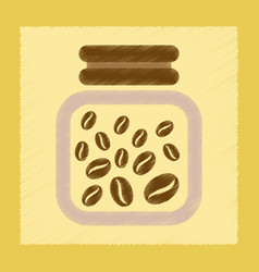 Flat shading style icon jar of coffee beans vector