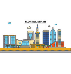 florida miamicity skyline architecture vector image
