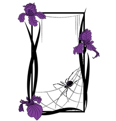 frame with spider and irises vector image
