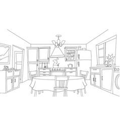 Fun cartoon kitchen coloring vector