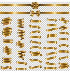 golden ribbon set transparent background vector image