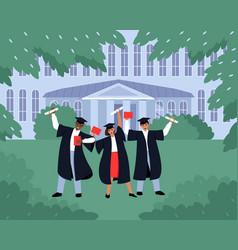 Graduates with diplomas and scrolls near vector