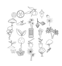 grove icons set outline style vector image