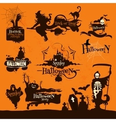 halloween party decoration emblems vector image