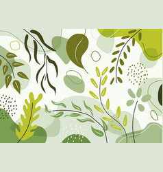 hand drawn organic shapes green natural leaves vector image