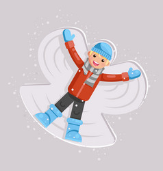Happy boy making snow angel childhood game kid vector