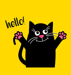 happy cute cat with text hello kawaii black cat vector image