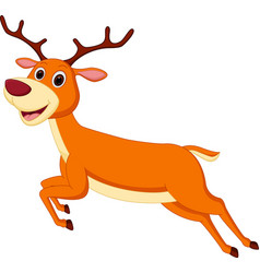 Happy deer cartoon running vector