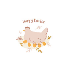 happy easter design hand drawn composition vector image