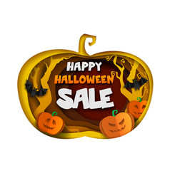 happy halloween sale composition paper cut vector image