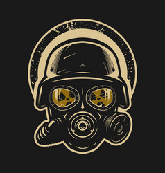 Helmet and gas mask radiation protection on a vector