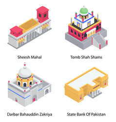 Historical buildings isometric icons pack vector