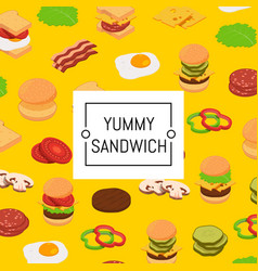isometric burger ingredients background and vector image
