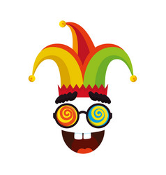 jester hat with glasses and smile fools day icon vector image