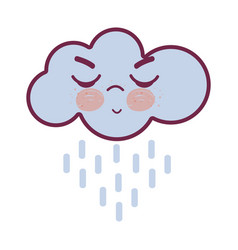 Kawaii raining cloud angry with close eyes and vector