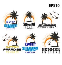 Logo palm trees sun wave vector