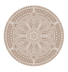 Mandala brown henna oriental decorative flower vector