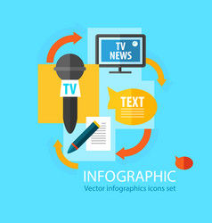 Mass media infographic flat concept vector