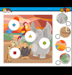 Match pieces game with safari animals vector