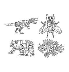 Mechanical animal set sketch vector