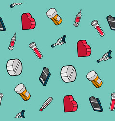Medical flat outline isometric pattern vector