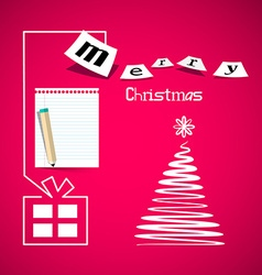 Merry Christmas Pink Card with Paper Gift Box vector