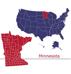 Minnesota map counties with usa map vector