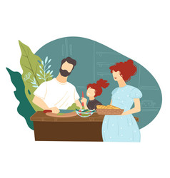 mother and father with kid preparing food for vector image