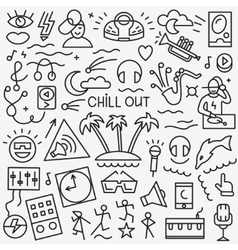 music -thin line icons vector image