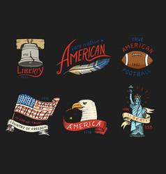 native american set old labels or badges vector image